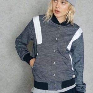Adidas Blue & White Snap Track Bomber Jacket XS